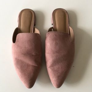 A New Day Pink Suede Mules Size 8.5